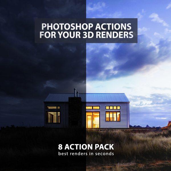 photoshop action pack preset post production 3d render