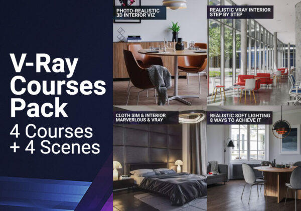 Vray courses pack 4 courses 4 3d scenes files tutorial vray 3dsmax