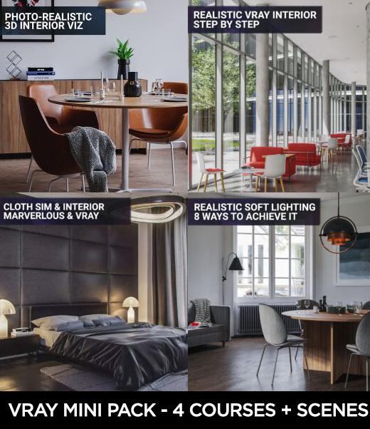 vray archviz course pack 3d scenes realistic interior renders