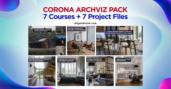 corona pack archviz courses 3d scenes feature