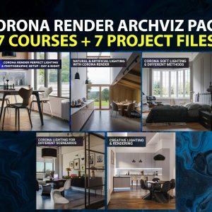 corona renderer archviz pack 7 courses + 7 project files