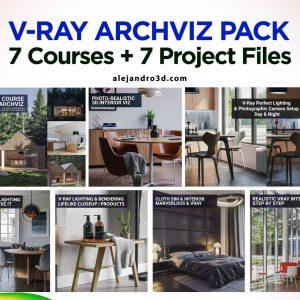 vray pack archviz courses 3d scenes feature
