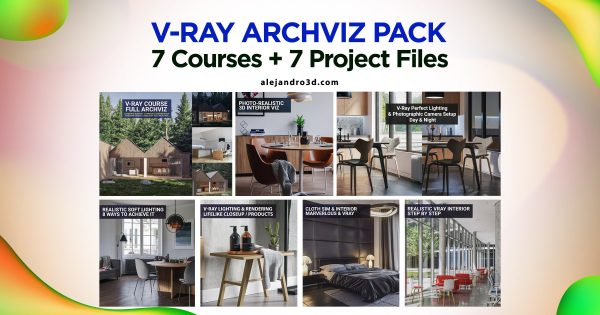 vray pack archviz courses 3d scenes feature